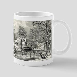 Winter pastime - 1870 11 oz Ceramic Mug