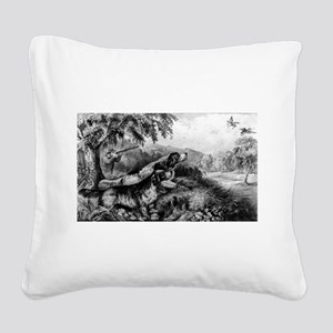 Woodcock shooting - 1870 Square Canvas Pillow