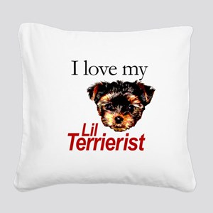I Love My Little Terrierist Square Canvas Pillow