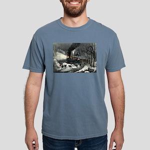 American railroad scene - snowbound - 1871 Mens Co