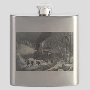 American railroad scene - snowbound - 1871 Flask