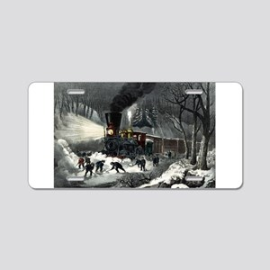 American railroad scene - snowbound - 1871 Aluminu