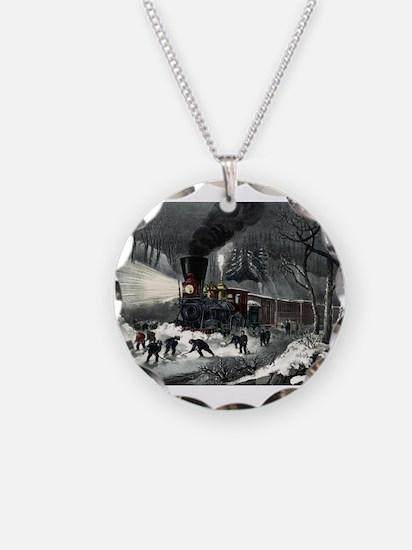 American railroad scene - snowbound - 1871 Necklac