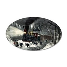 American railroad scene - snowbound - 1871 Wall Decal
