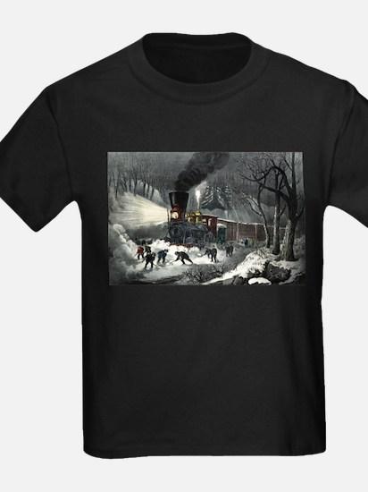 American railroad scene - snowbound - 1871 T
