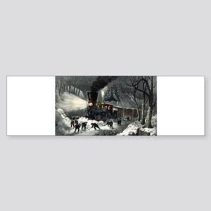 American railroad scene - snowbound - 1871 Sticker