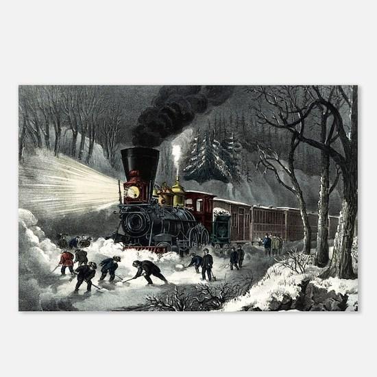 American railroad scene - snowbound - 1871 Postcar
