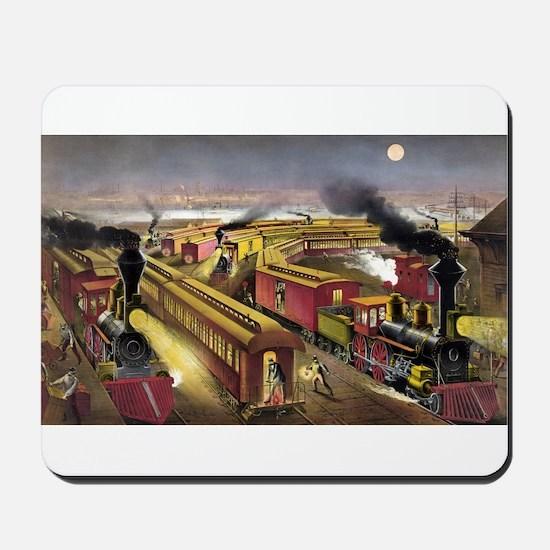 Night scene at an American railway junction - 1876