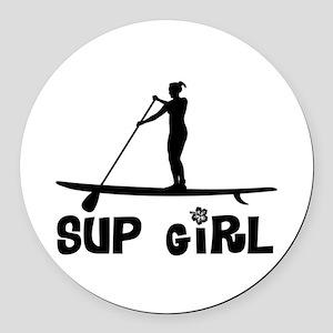 SUP_Girl-b Round Car Magnet