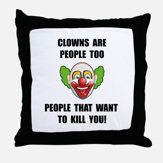 Clown Kill Throw Pillow
