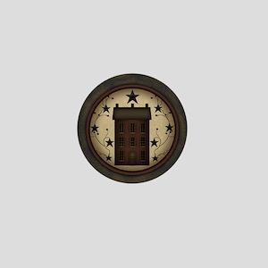 Primitive Saltbox and Stars Mini Button