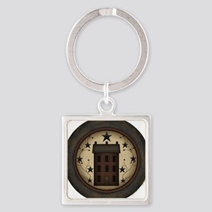 Primitive Saltbox and Stars Square Keychain