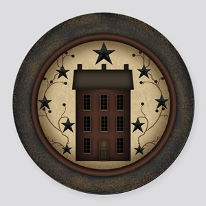Primitive Saltbox and Stars Round Car Magnet