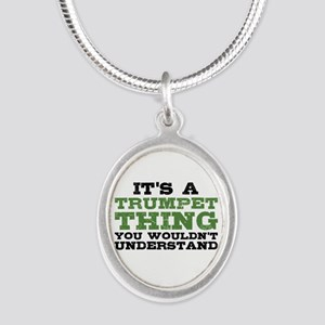 It's a Trumpet Thing Silver Oval Necklace