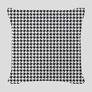 Retro Houndstooth Vintage Woven Throw Pillow