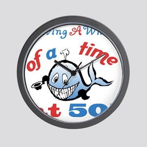 50th Birthday Humor (Whale) Wall Clock