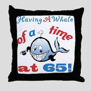 65th Birthday Humor (Whale) Throw Pillow