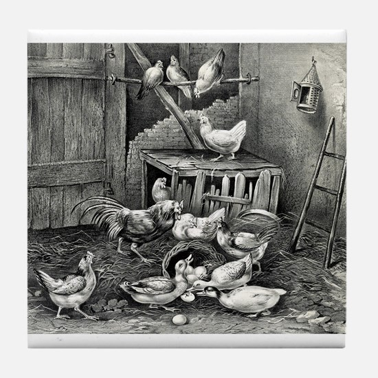 The poultry yard - 1869 Tile Coaster