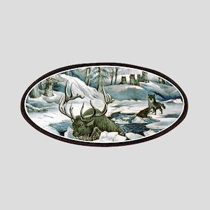Moose and wolves a narrow escape - Circa 1880 Patc