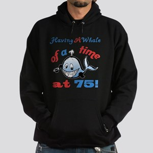 75th Birthday Humor (Whale) Hoodie (dark)