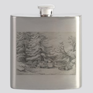 Snowed up - ruffed grouse in winter - 1867 Flask