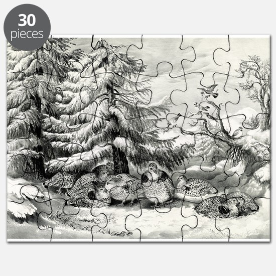 Snowed up - ruffed grouse in winter - 1867 Puzzle
