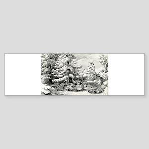 Snowed up - ruffed grouse in winter - 1867 Sticker