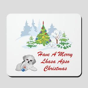 Christmas Lhasa Apso Mousepad