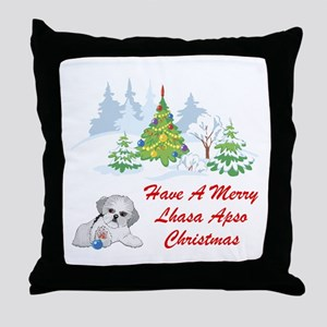 Christmas Lhasa Apso Throw Pillow