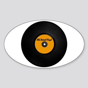 Old School Vinyl Record Oval Sticker