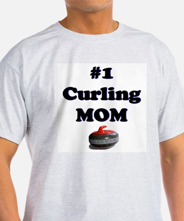 #1 Curling Mom Ash Grey T-Shirt