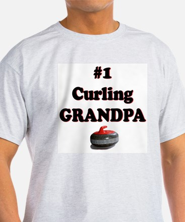 #1 Curling Grandpa Ash Grey T-Shirt