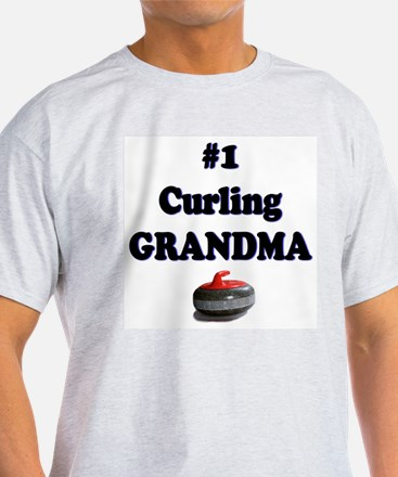 #1 Curling Grandma Ash Grey T-Shirt
