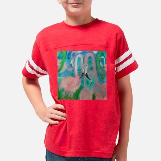 Pink Flamingo Party Art Youth Football Shirt
