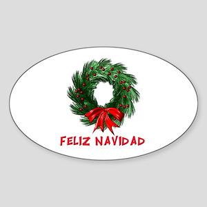 Feliz Navidad Wreath Oval Sticker
