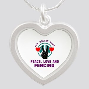I am voting for Peace, Love Silver Heart Necklace