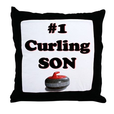 #1 Curling Son Throw Pillow