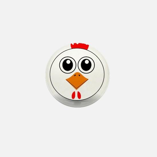 Cartoon Chicken Face Mini Button