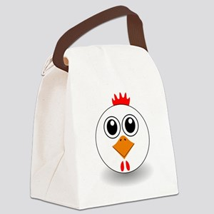 Cartoon Chicken Face Canvas Lunch Bag