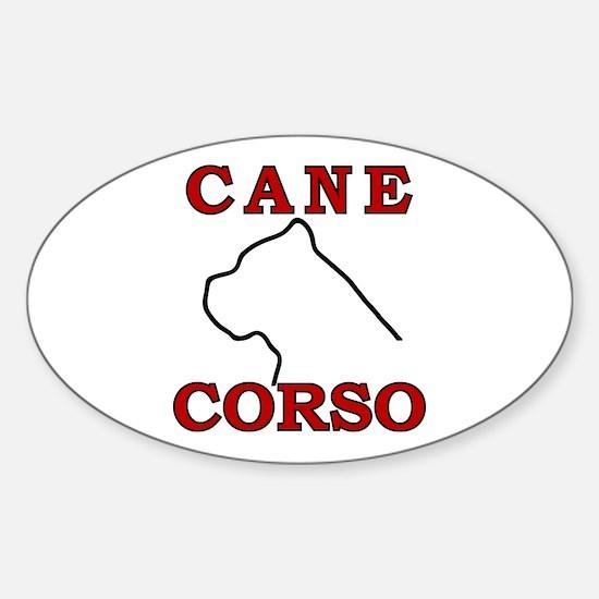 Cane Corso Logo Red Sticker (Oval)