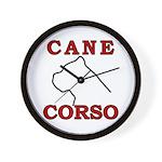 Cane Corso Logo Red Wall Clock