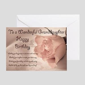 For granddaughter, elegant rose birthday card. Gre