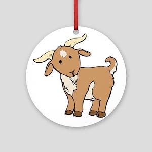 Cartoon Billy Goat Ornament (Round)