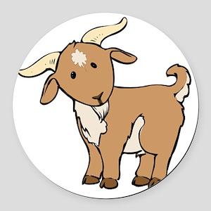 Cartoon Billy Goat Round Car Magnet