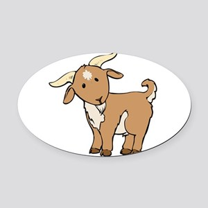 Cartoon Billy Goat Oval Car Magnet