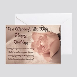 For Ex Wife Elegant Rose Birthday Card Greeting