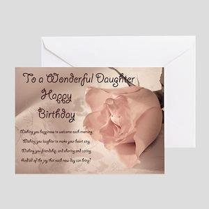 For daughter, elegant rose birthday card. Greeting