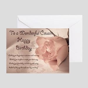 For cousin, elegant rose birthday card. Greeting C