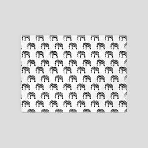 Damask Elephant Pattern 5'x7'Area Rug