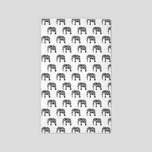 Damask Elephant Pattern 3'x5' Area Rug